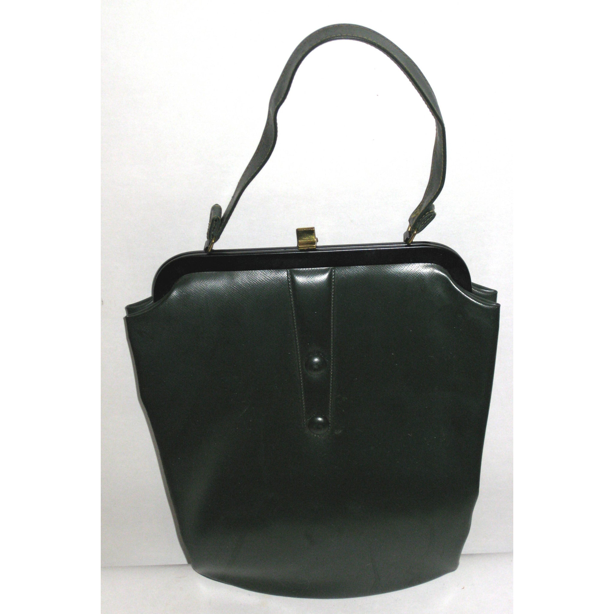 Vintage Forest Green Vinyl Handbag