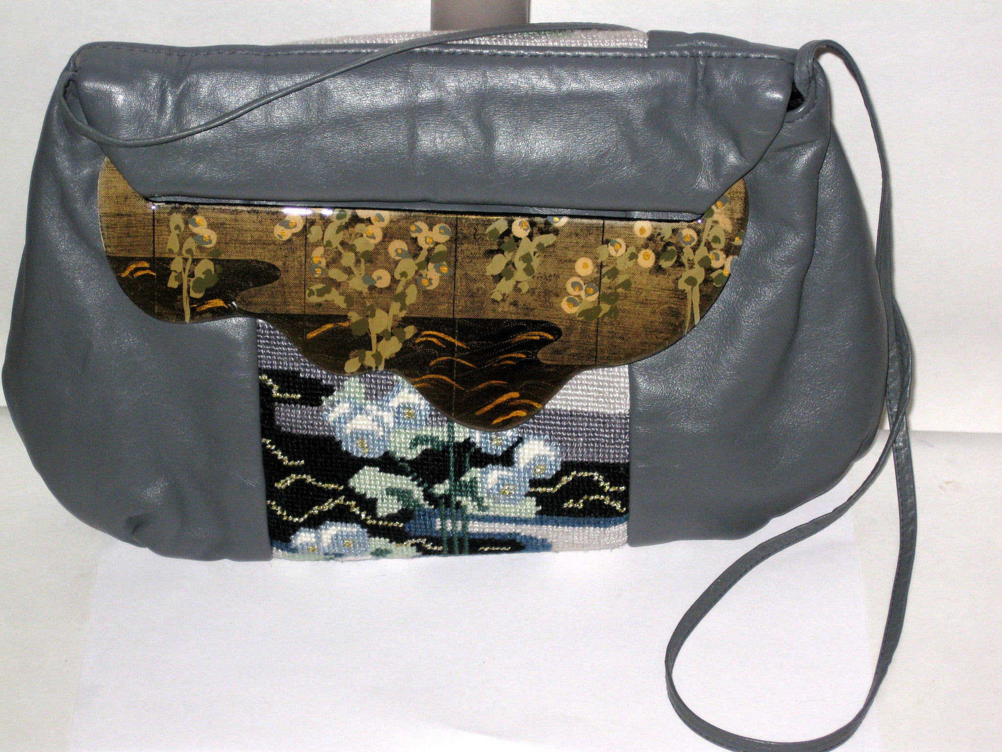 Vintage Patricia Smith Moon Bag Grey Leather Needlepoint Purse