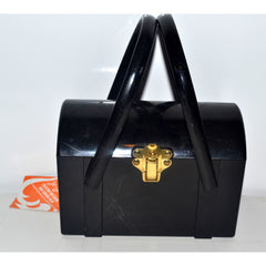 Vintage Black Lucite Box Purse By Jo-Jan