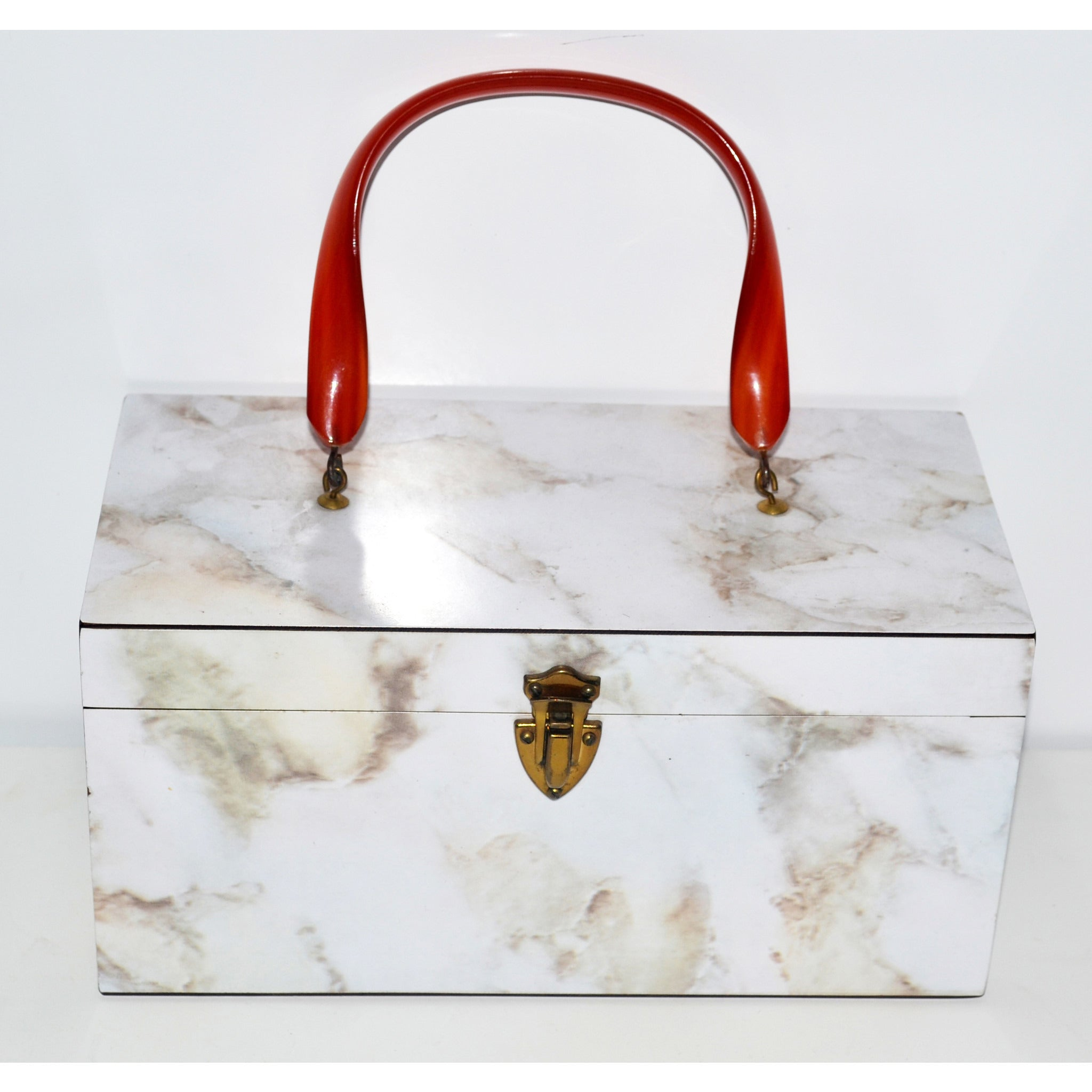 Vintage Faux Marble Lucite Box Purse