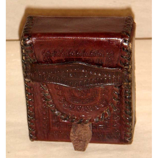 Vintage Brown Tooled Leather Mexican Coin Box