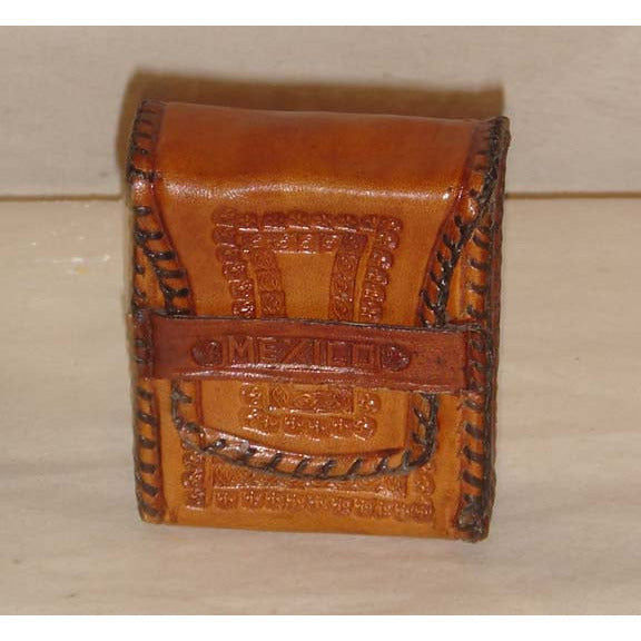 Vintage Tan Mexican Tooled Leather Coin Box