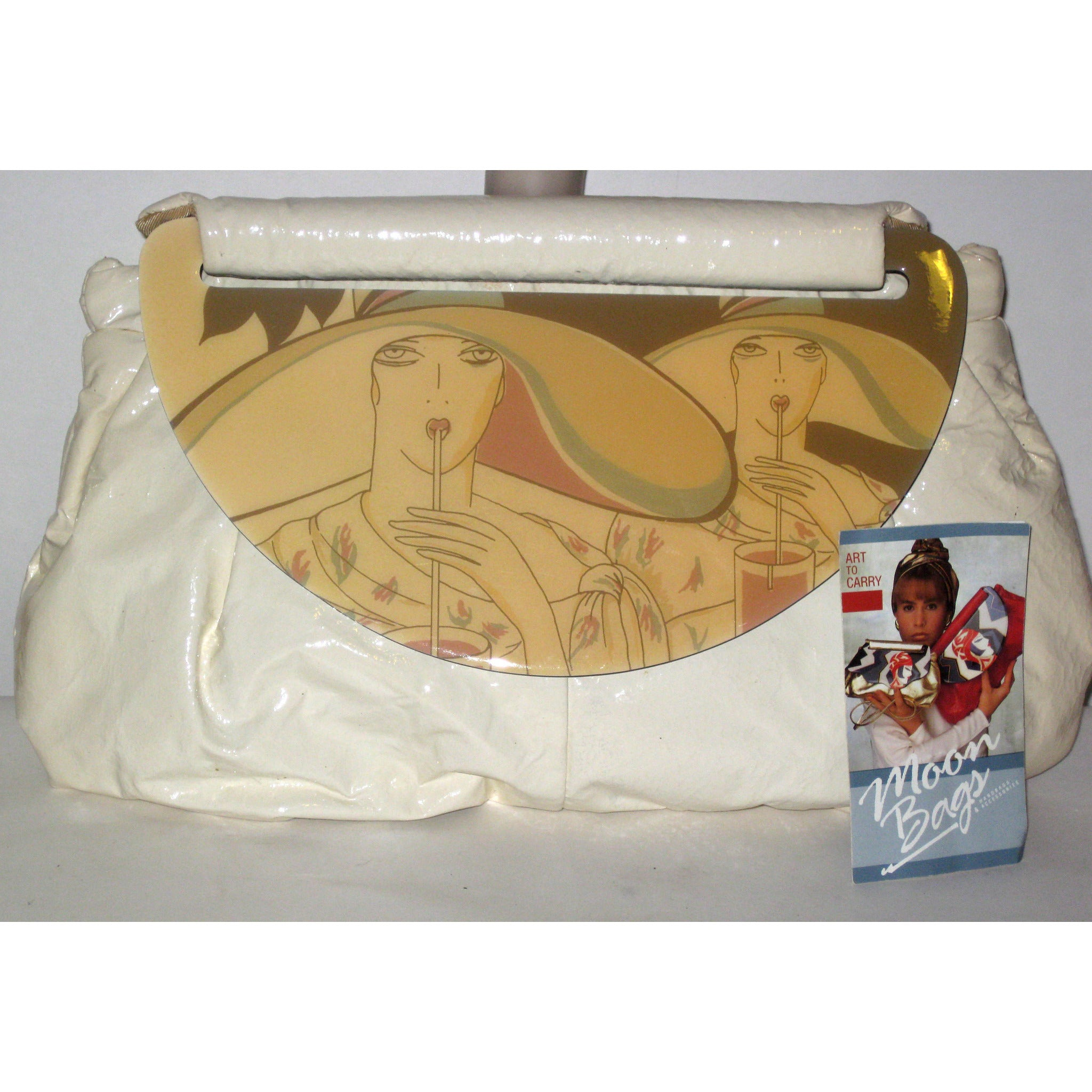 Vintage Cream High Gloss Moon Bag Purse By Patrica Smith - 1980's