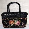 Vintage Black Needlepoint Wicker Basket Purse