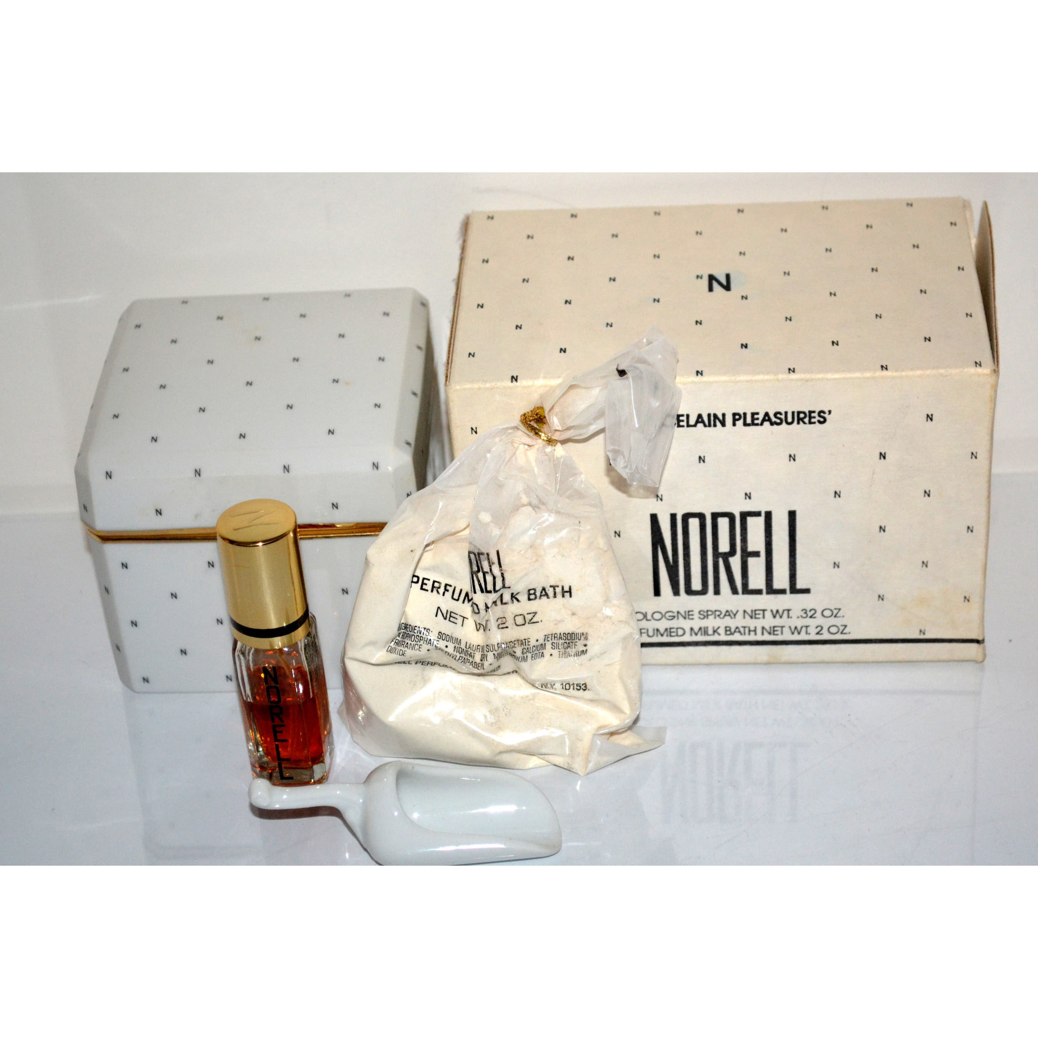 Vintage Norell Cologne & Milk Bath Porcelain Set