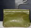 Vintage Stitched Olive Leather Clutch