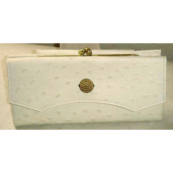 Vintage Cream Faux Ostrich Wallet By Princess Gardner