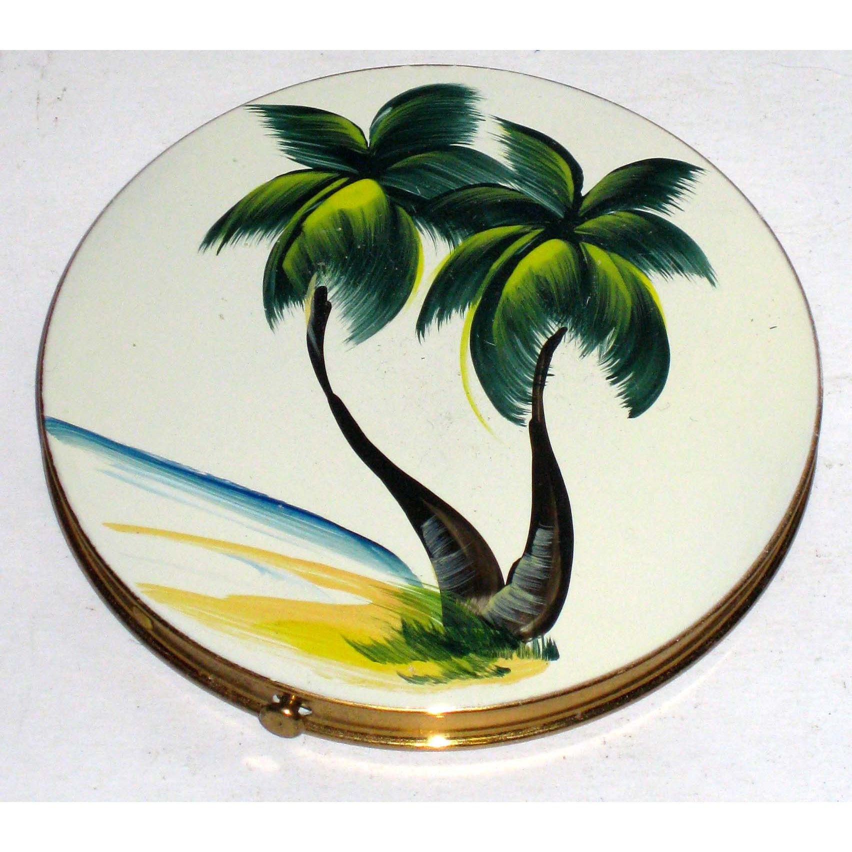 Vintage Enamel Palm Tree Compact By Nor-Blu