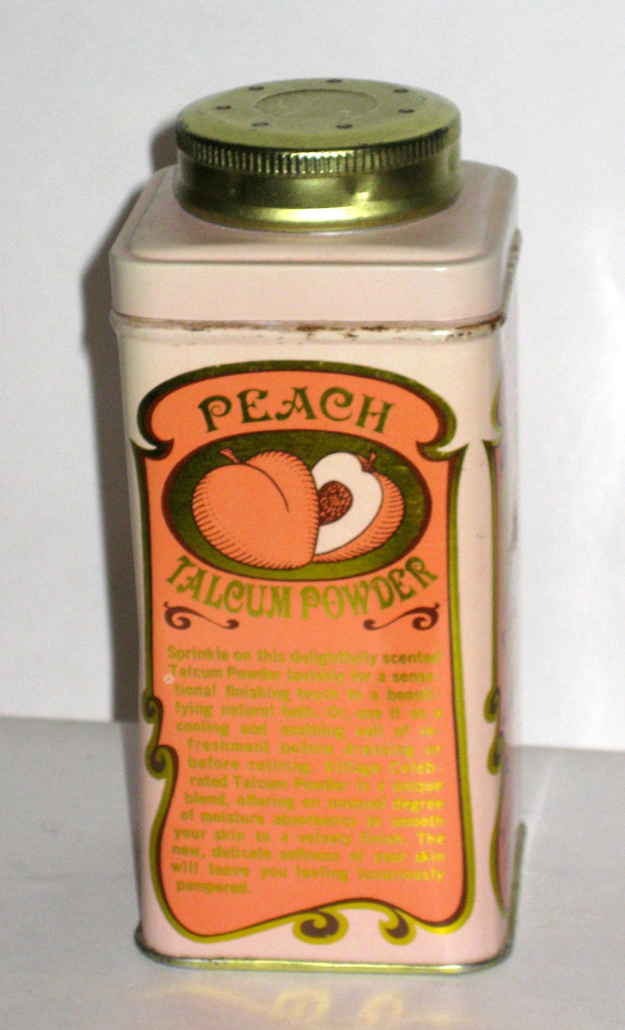 Village Peach Talcum Powder Tin