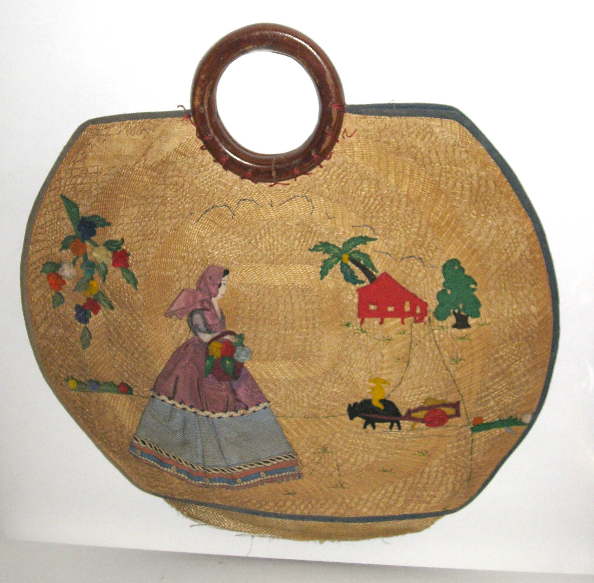Vintage Woven Pineda Applique Straw Purse