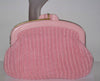 Vintage Pink Straw & Plastic Clutch Purse