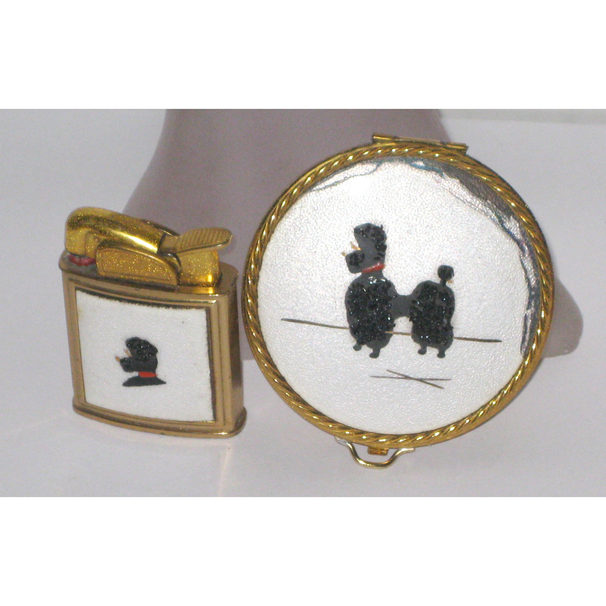 Vintage Poodle Compact & Lighter Set By Evans