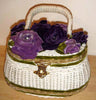 Vintage Purple Floral Basket Wicker Purse