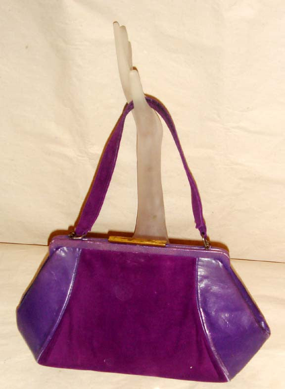Vintage Deep Purple Suede & Leather Purse