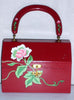 Vintage Hand Painted Red Wooden Purse