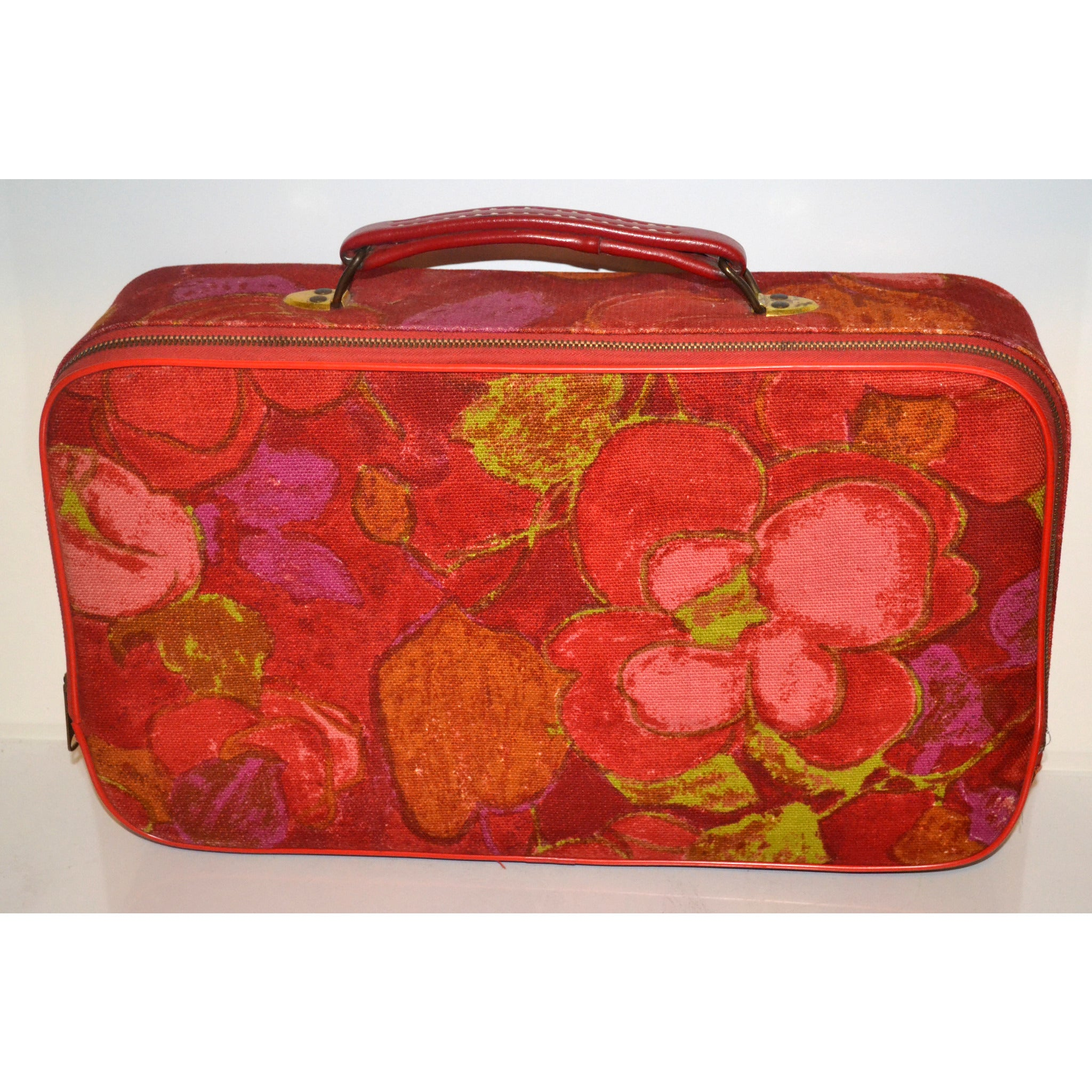 Vintage Red Floral CarryOn Suitcase Luggage