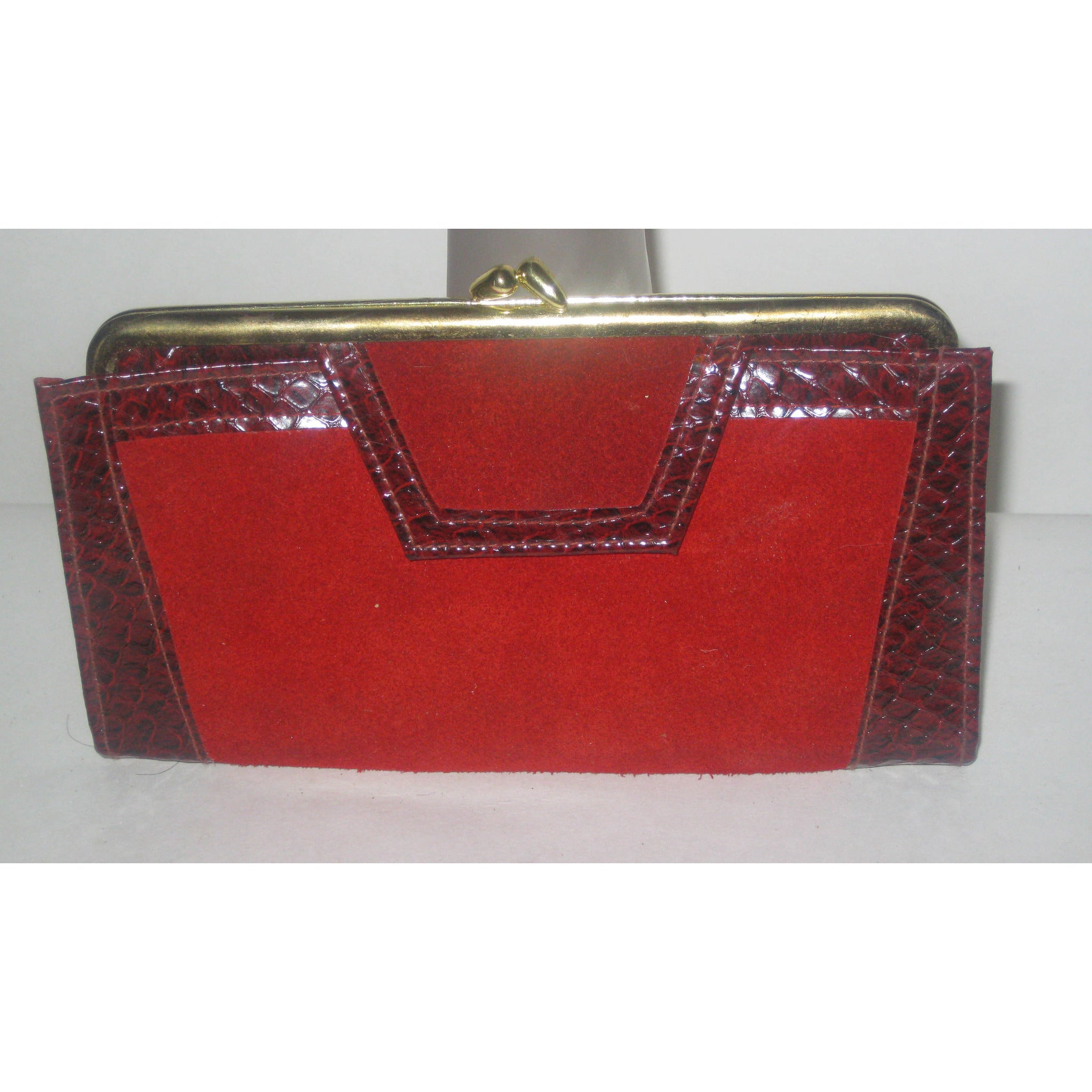Vintage Red Suede Faux Reptile Wallet By St. Thomas