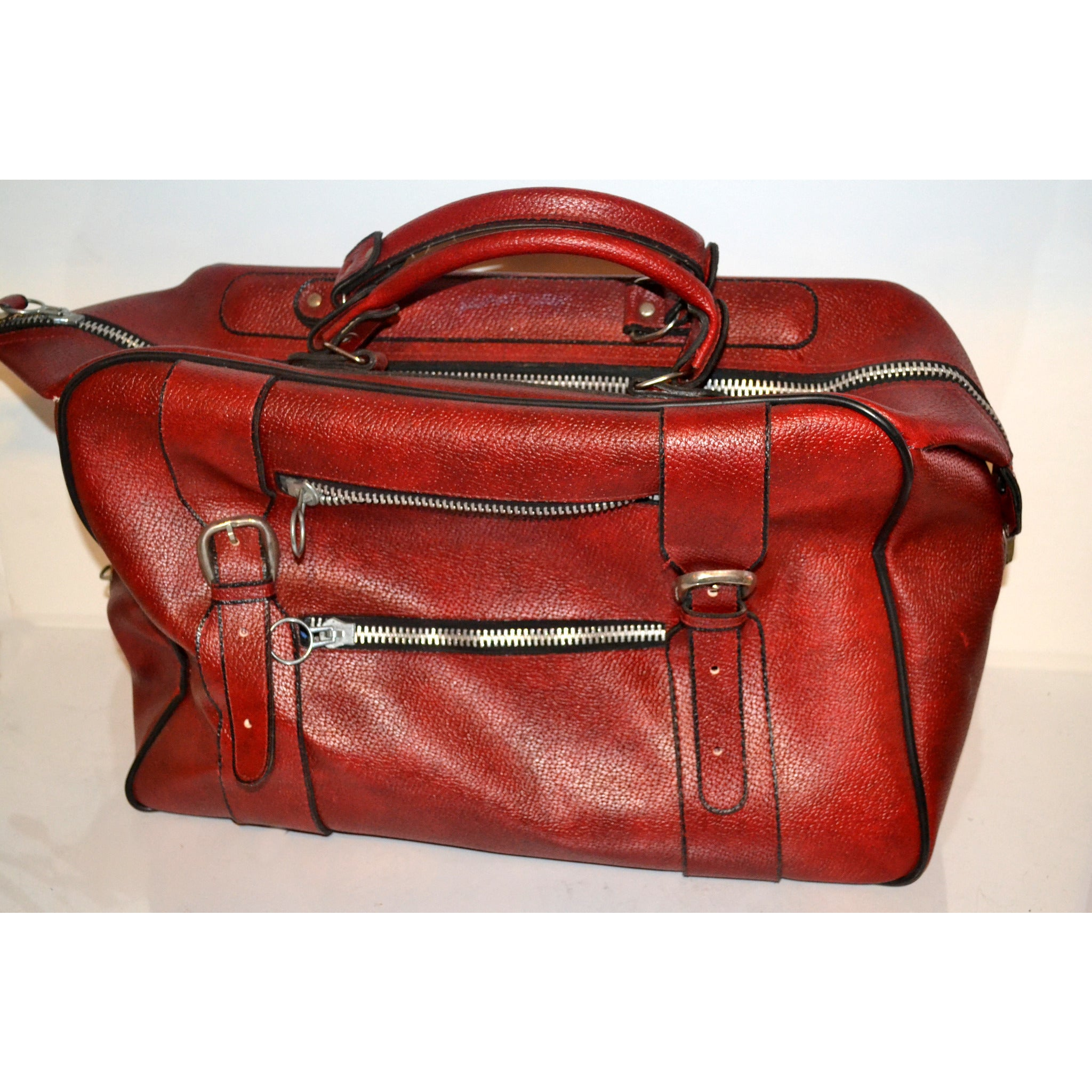 Vintage Red Faux Leather Zipper Travelbag