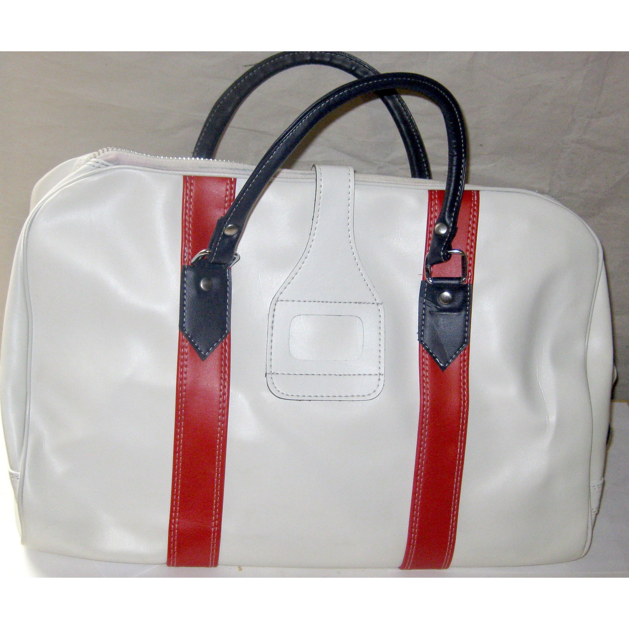 White Color Trimmed Carry-All Travel Bag