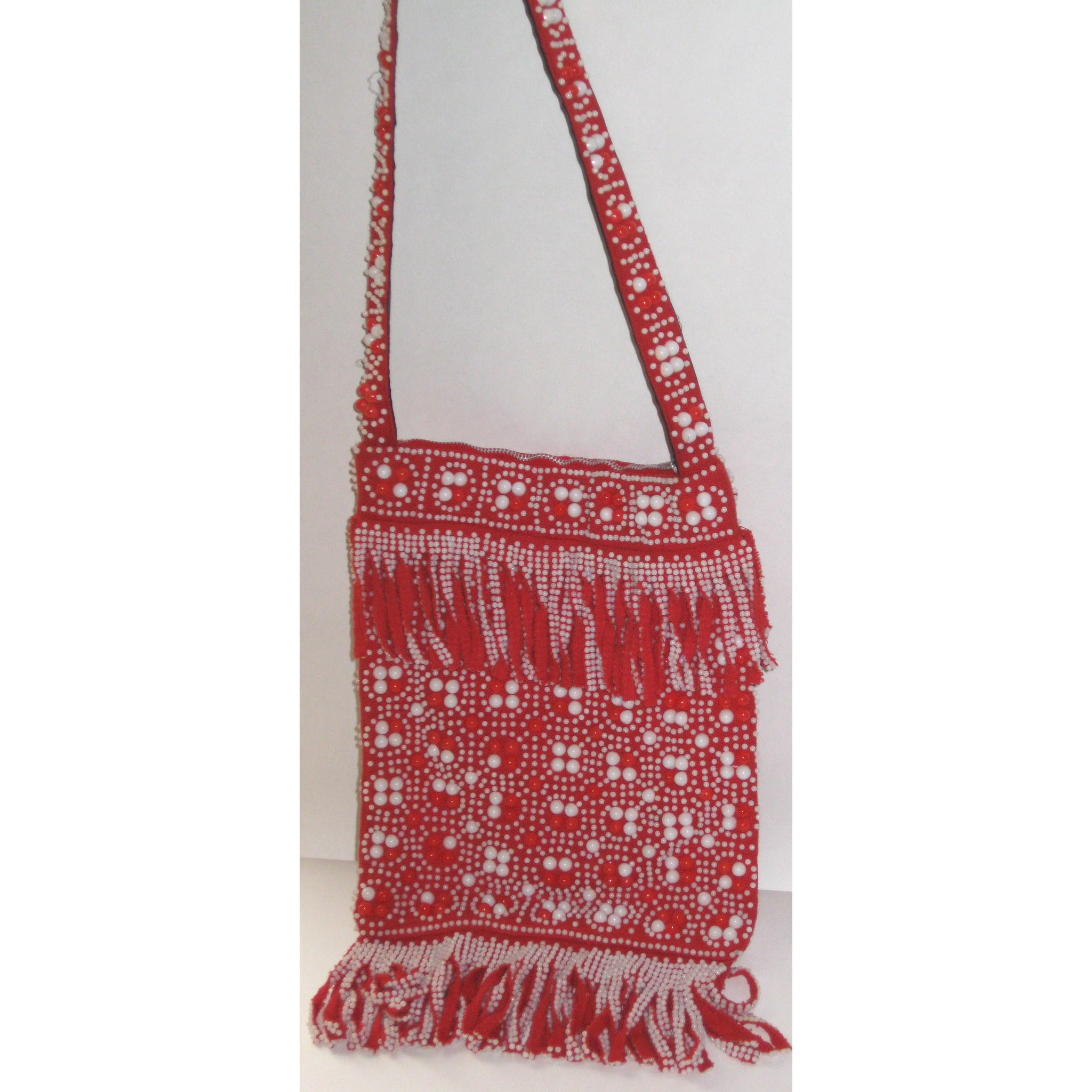 Vintage Hippy Red & White Beaded Purse