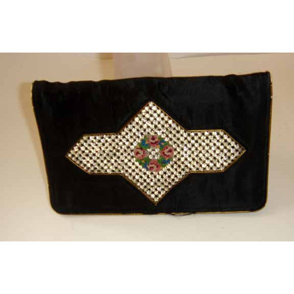 Vintage Black Rhinestone Clutch Purse