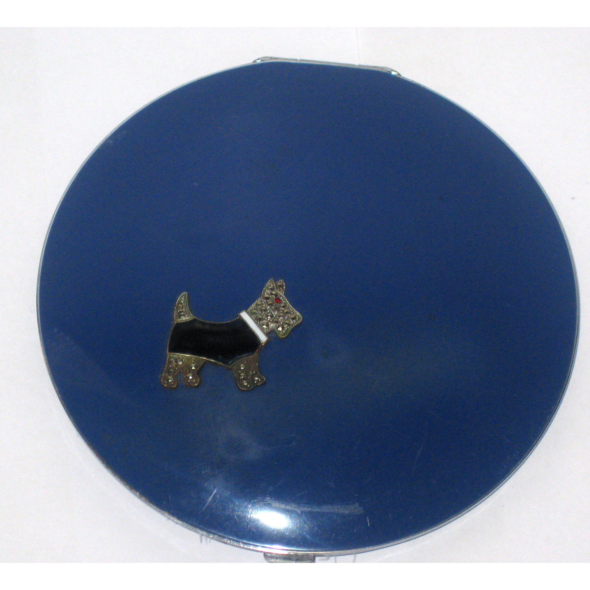 Vintage Blue Rhinestone Scottie Dog Compact