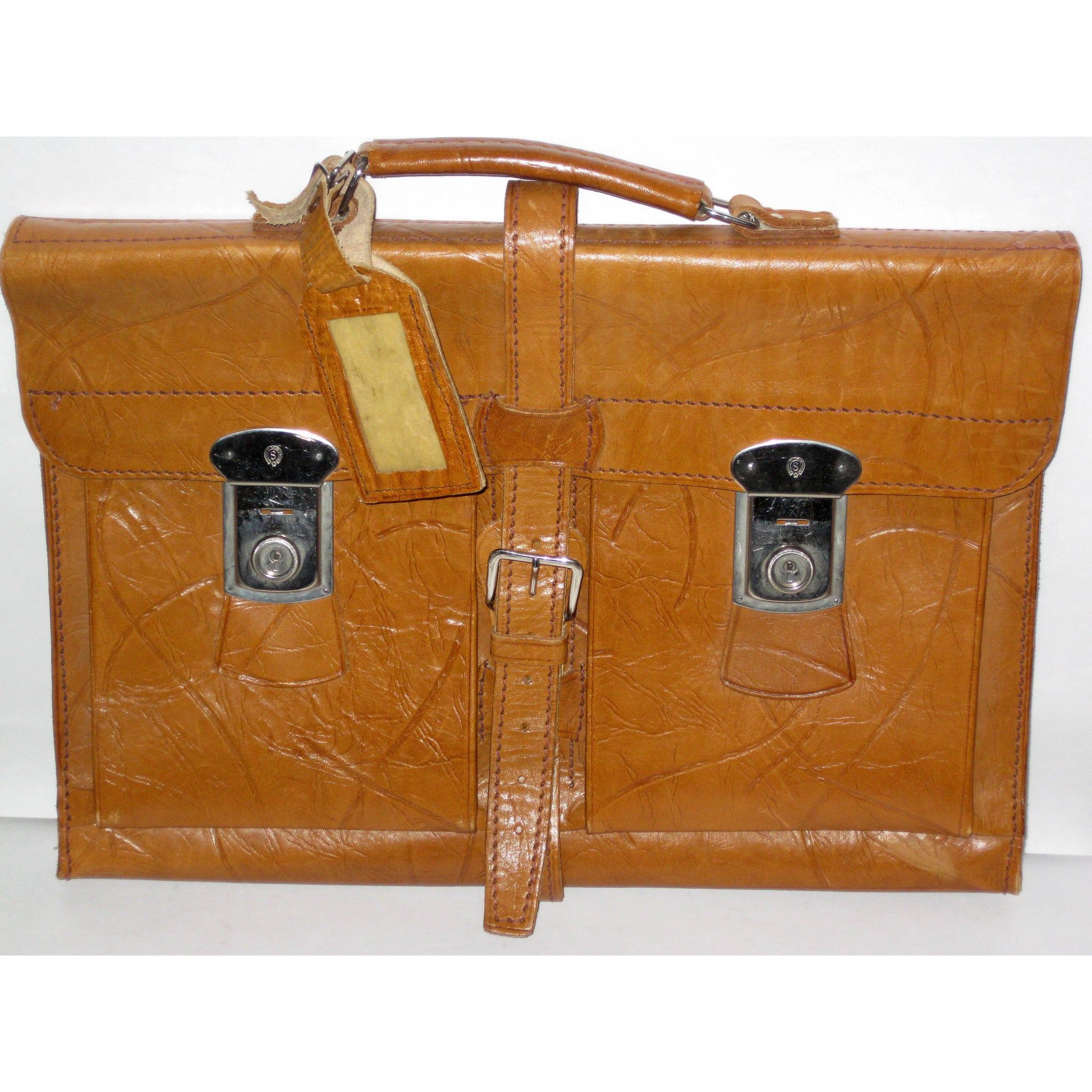Vintage Brown Textured Leather Attache Briefcase
