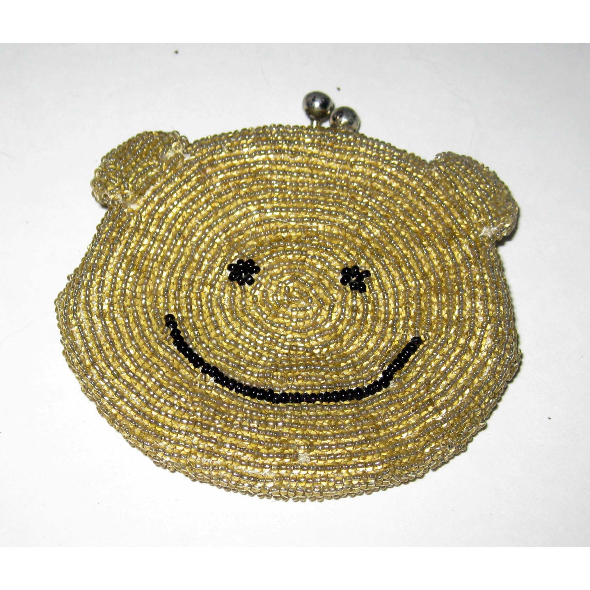 Vintage Gold Beaded Bear Face Coin Purse