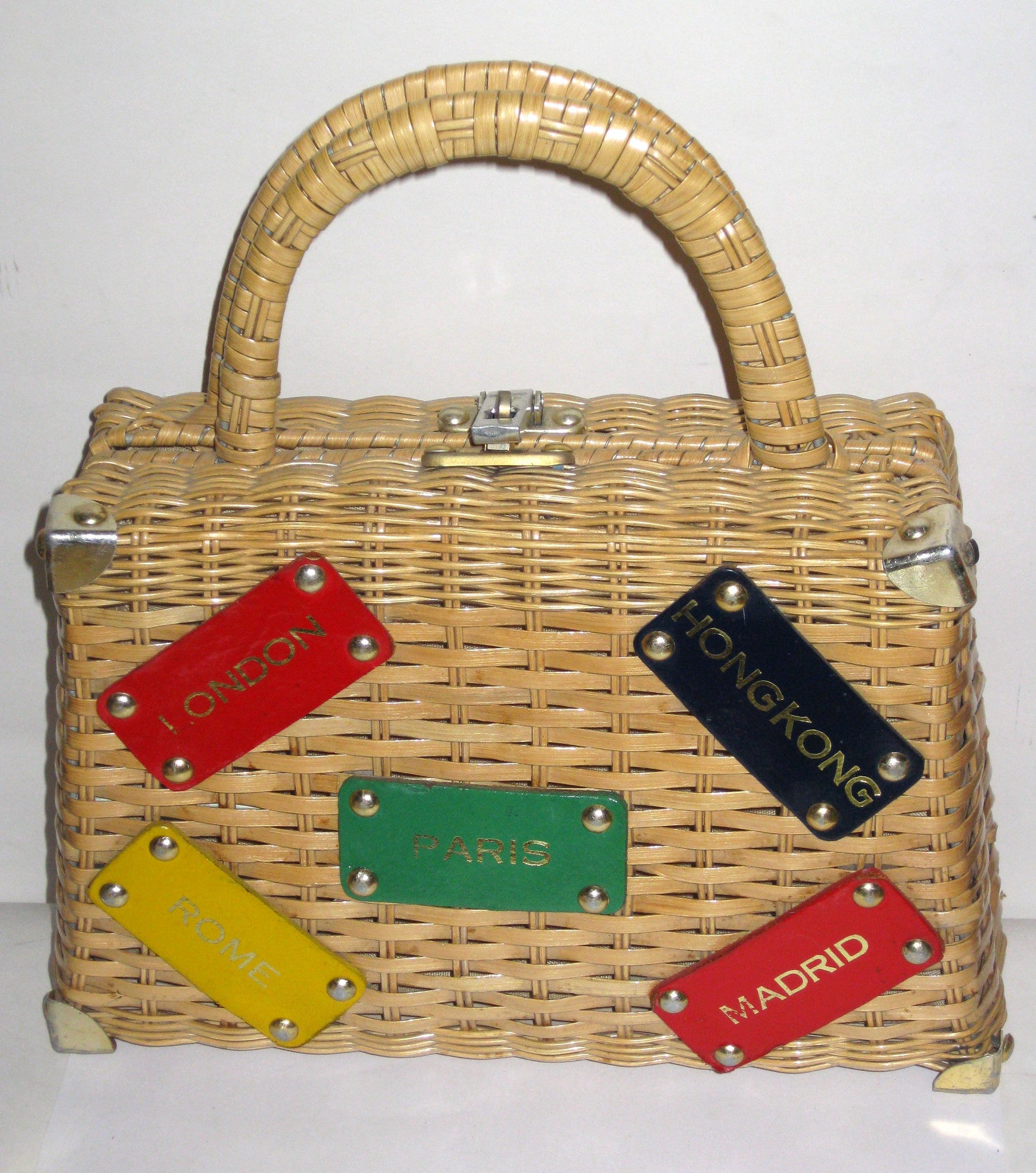 Vintage Wicker World Travel Purse