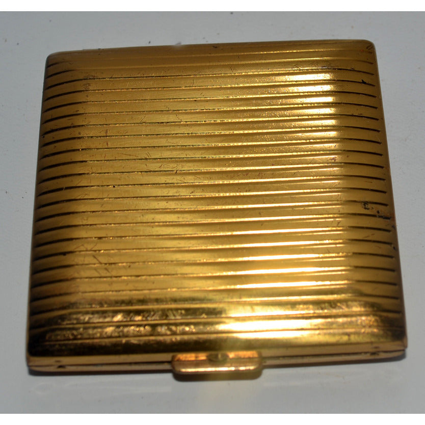 Vintage Goldtone Ribbed Compact
