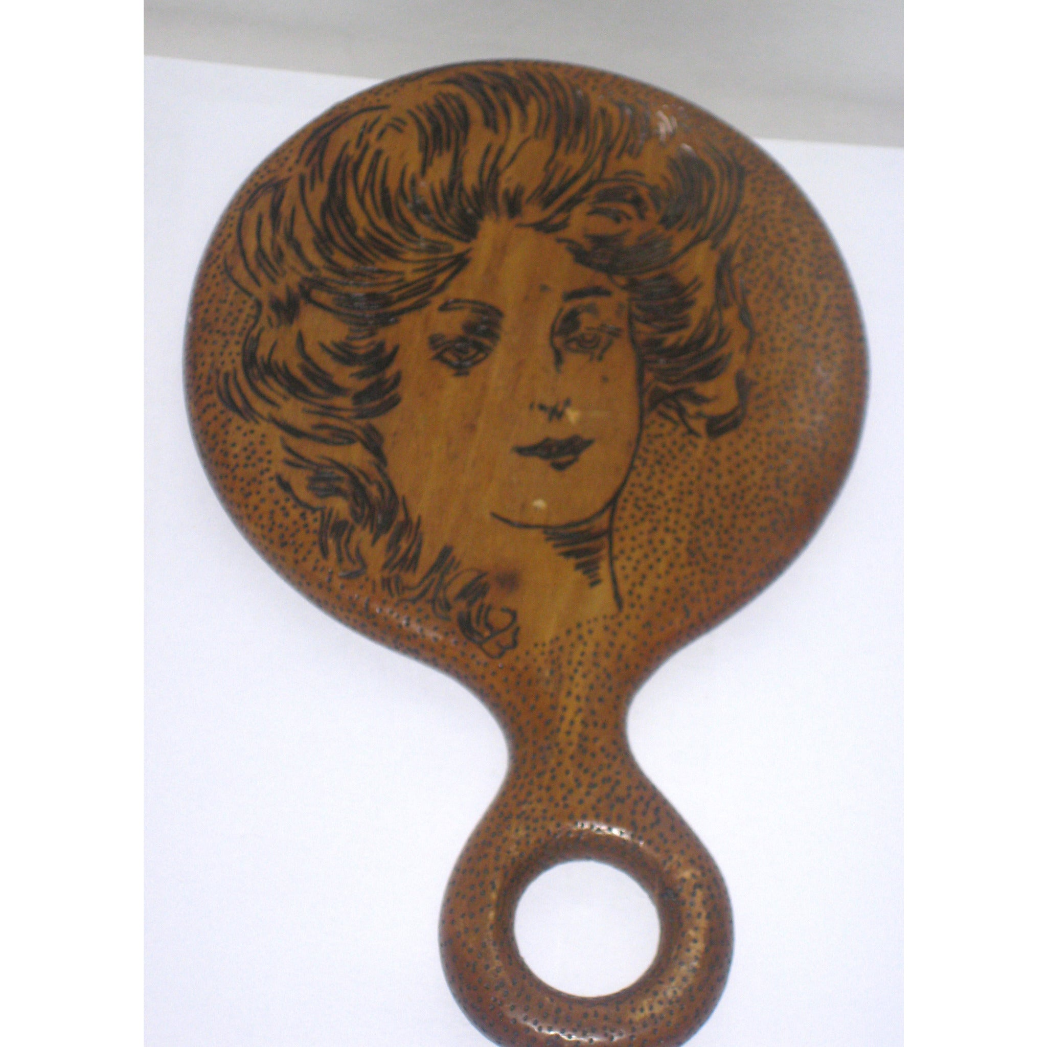 Vintage Victorian Engraved Wood Hand Mirror