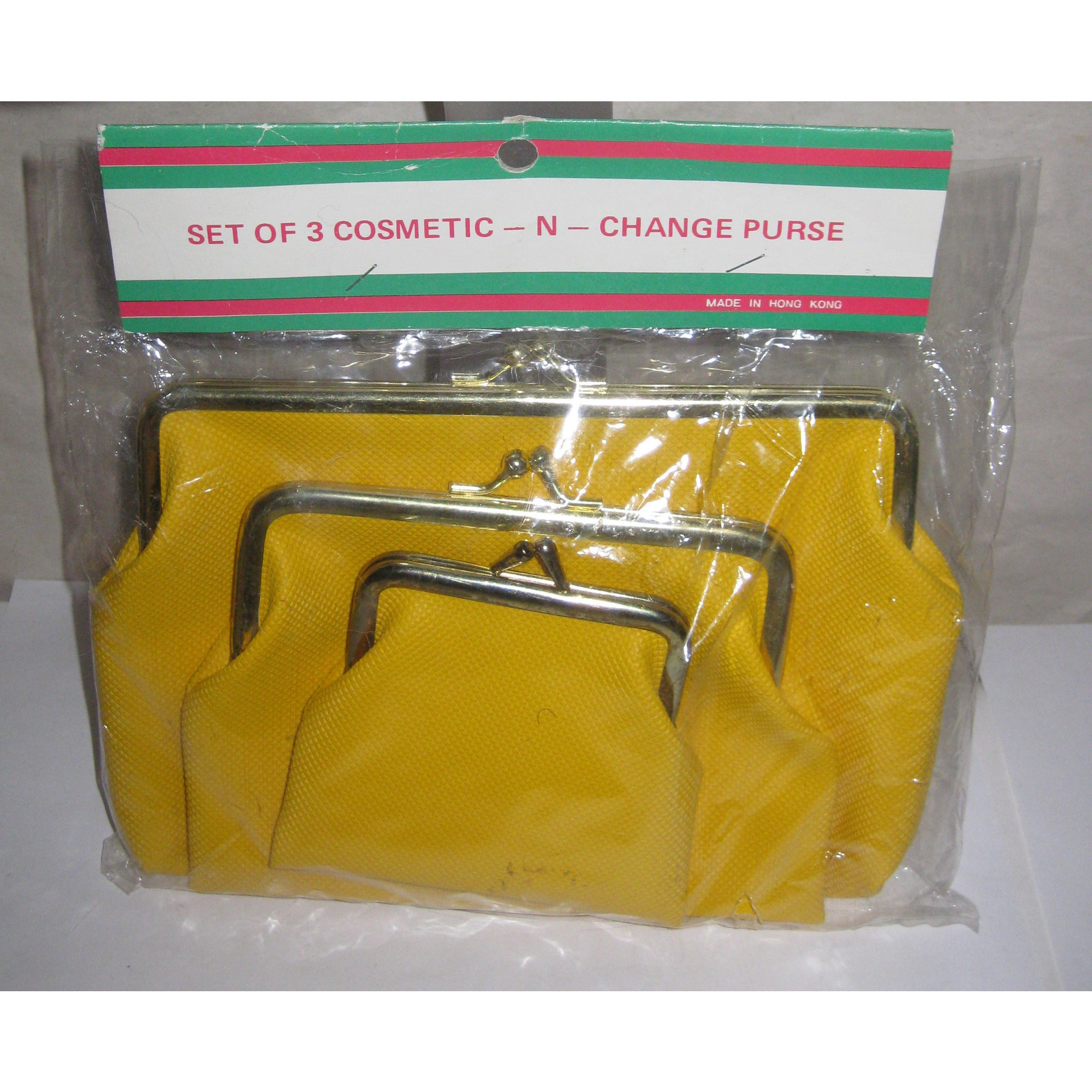 Vintage Mustard Cosmetic & Change Purse Set