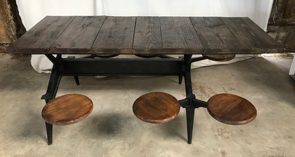 Industrial Table with 6 Swing-out Seats