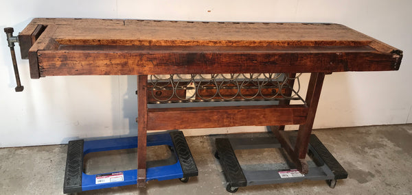Industrial Work Bench with wine rack
