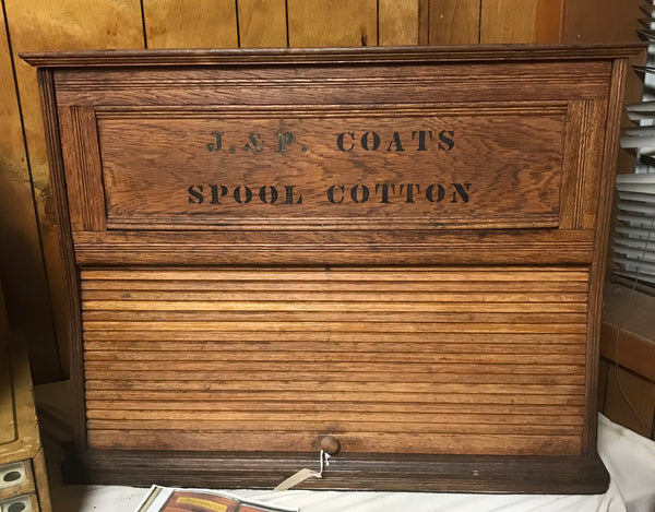 Thread Spool Cabinet by J & P Coats with Roll Front