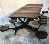 Industrial Table with 7 swing-out Seats