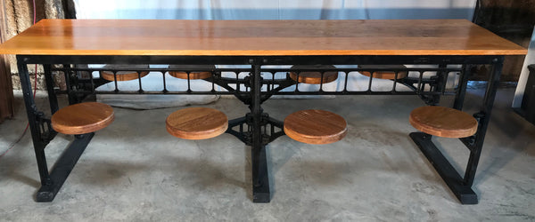 Table with 8 Swing-out Seats/stools Golden Oak Top