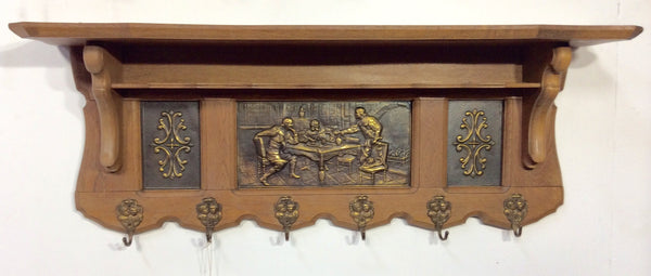 Ornate Oak Wall Shelf with Coat Hooks
