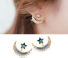 New Fashion accessories crystal rhinestone moon star stud earring - Igearitz