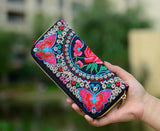 Embroidered Floral Long Canvas Zipper wallet