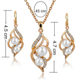 Silver Plated Elegant Inlaid Crystal Jewelry Sets Imitation Pearl Earrings Necklaces Set