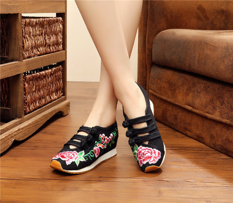 Vintage Casual Embroidery Comfortable Fashion Breathable Shoes Woman