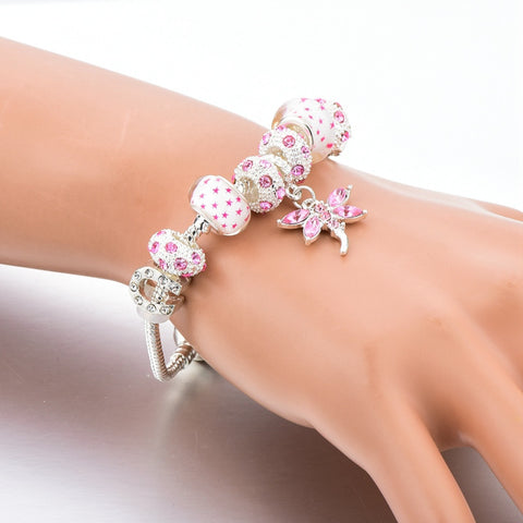 New Strand Pink European Glass Beads Bracelet With Butterfly Silver Plated Charms Bangle - Igearitz