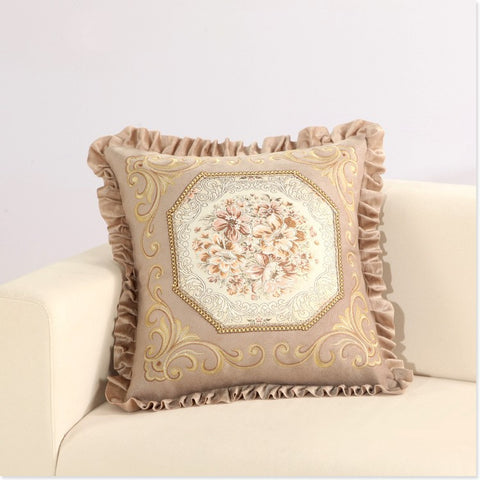 Luxurious Embroidery Velour Home Decor Cushion Decoration Lace Pillow cover