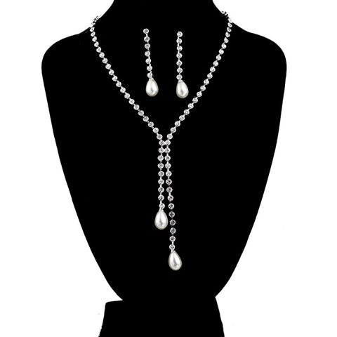 New Platinum Plated Pearl Jewelry Sets for Women with Austrian Crystal Wedding Dress Necklace - Igearitz