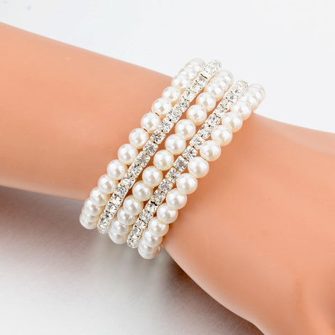 Fashion Crystal Imitation Pearl Bracelets  Multi Layer Wide Bracelets & Bangles - Igearitz