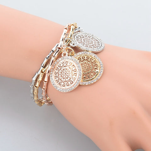 Crystal Bracelets Bangles Gold, Silver, Rose gold Plated Round Bracelet with heart charm, star charm , oval - Igearitz
