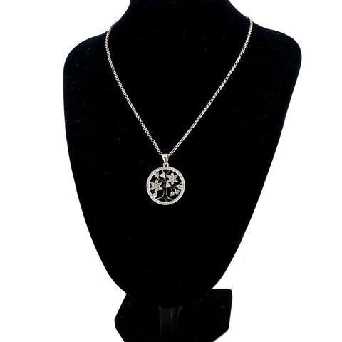 Crystal Tree of Life Pendant Round Shape Necklaces
