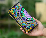 Embroidered Floral Long Canvas Zipper wallet - Igearitz