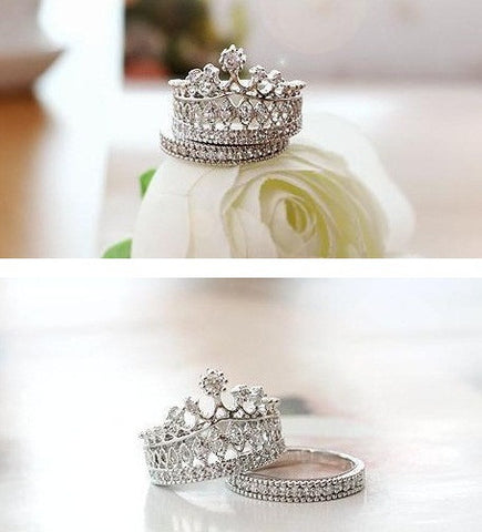 Crystal Crown Finger Ring